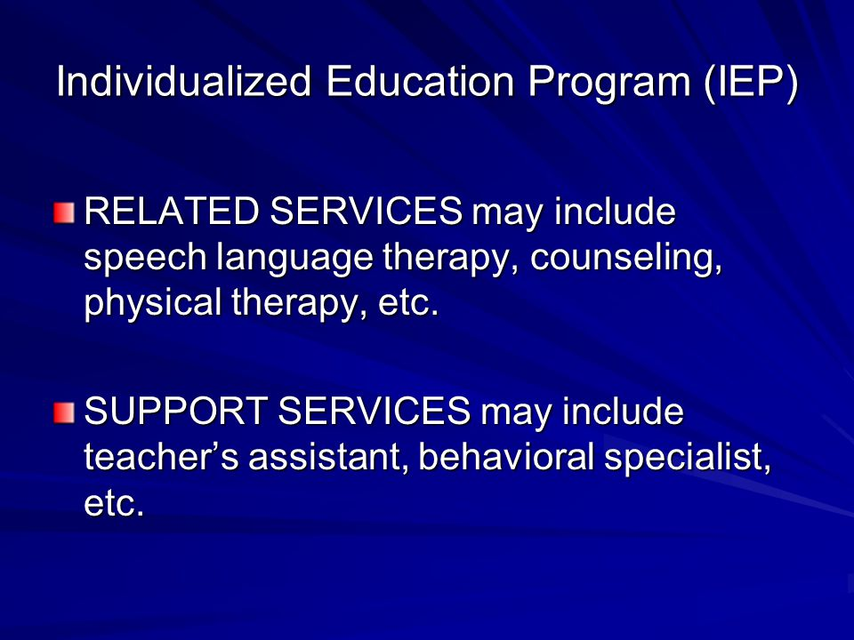 Individualized Education Program (IEP) RELATED SERVICES may include speech language therapy, counseling, physical therapy, etc.