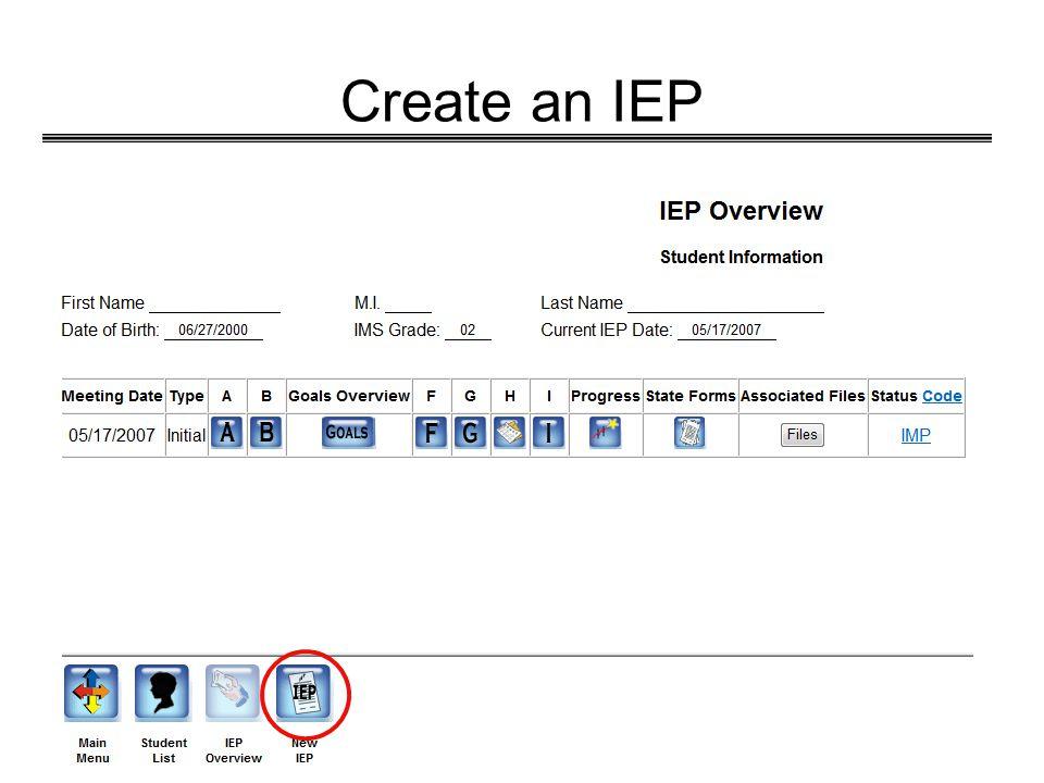 Create an IEP