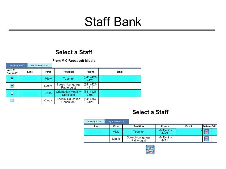 Staff Bank