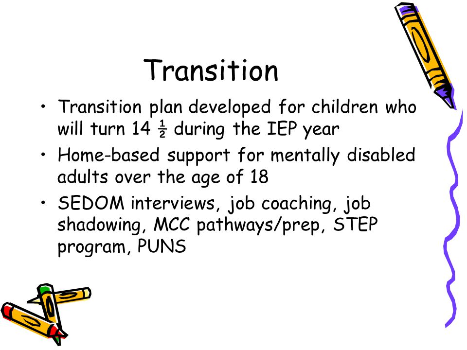 Transition Transition plan developed for children who will turn 14 ½ during the IEP year Home-based support for mentally disabled adults over the age