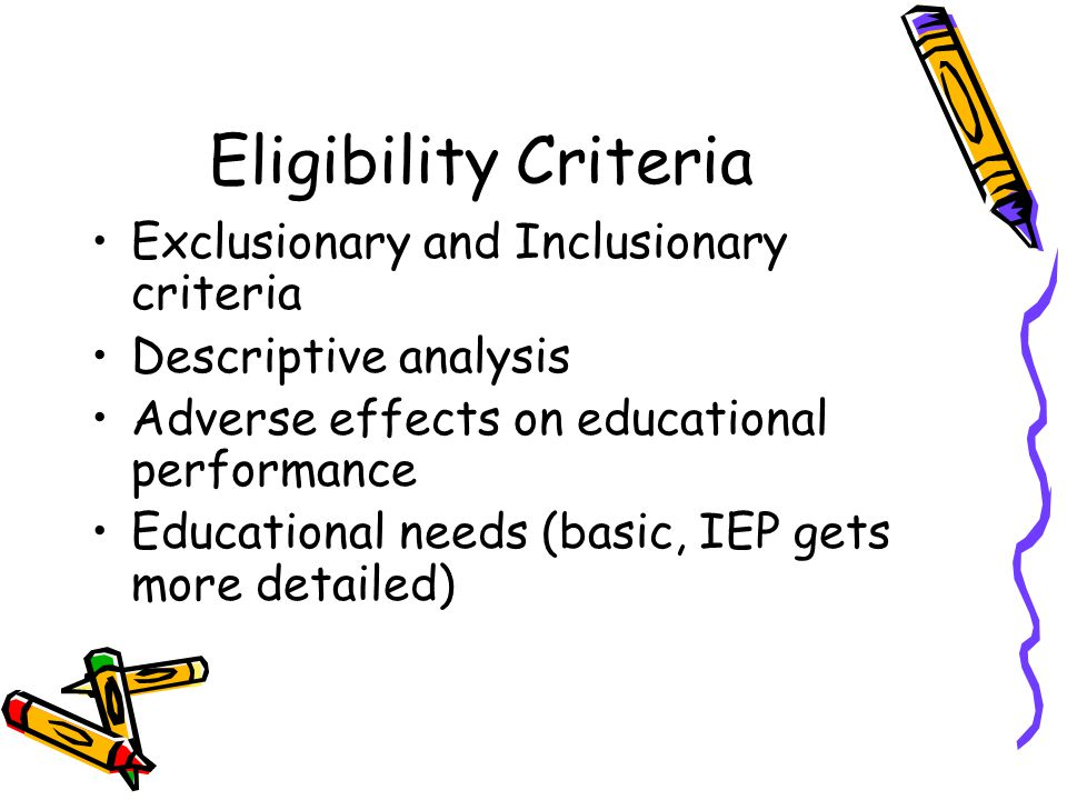 Eligibility Criteria Exclusionary and Inclusionary criteria Descriptive analysis Adverse effects on educational performance Educational needs (basic,