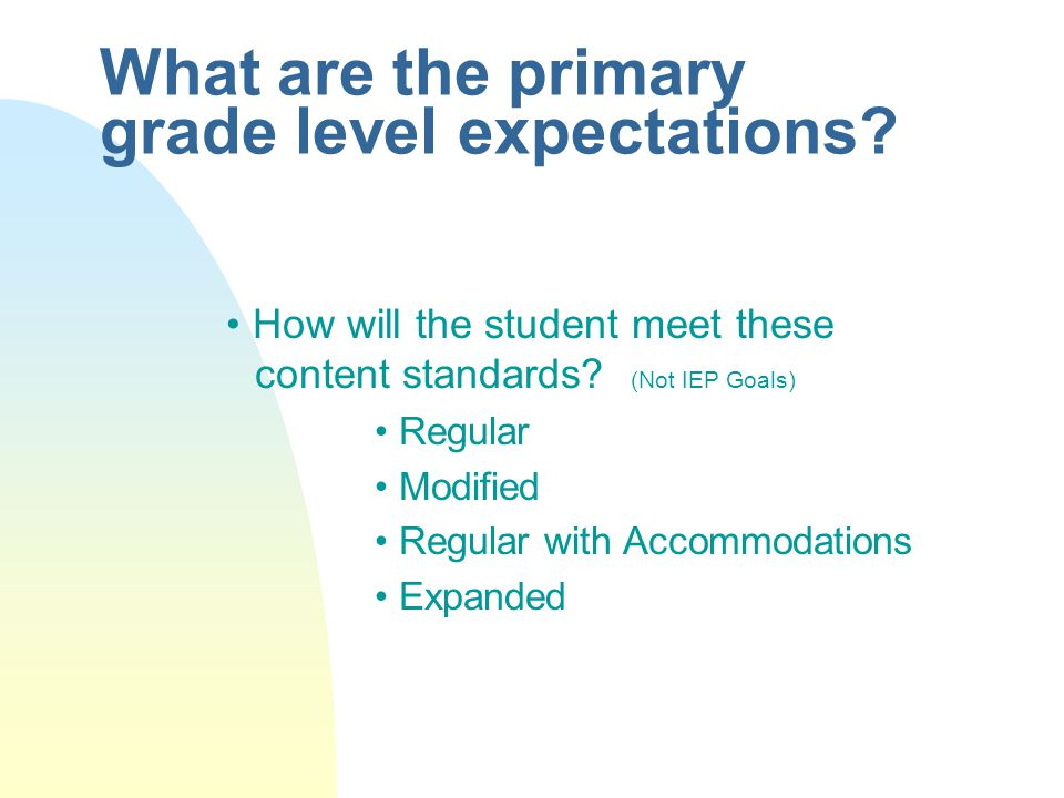 Individualized Goals: 1) Which standards closely relate to the educational concerns / needs identified.