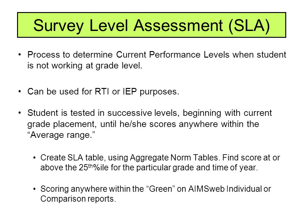 Survey Level Assessment (SLA) Process to determine Current Performance Levels when student is not working at grade level. Can be used for RTI or IEP p