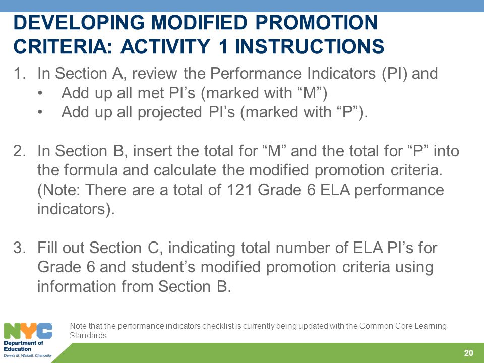 20 DEVELOPING MODIFIED PROMOTION CRITERIA: ACTIVITY 1 INSTRUCTIONS 1.In Section A, review the Performance Indicators (PI) and Add up all met PI's (mar