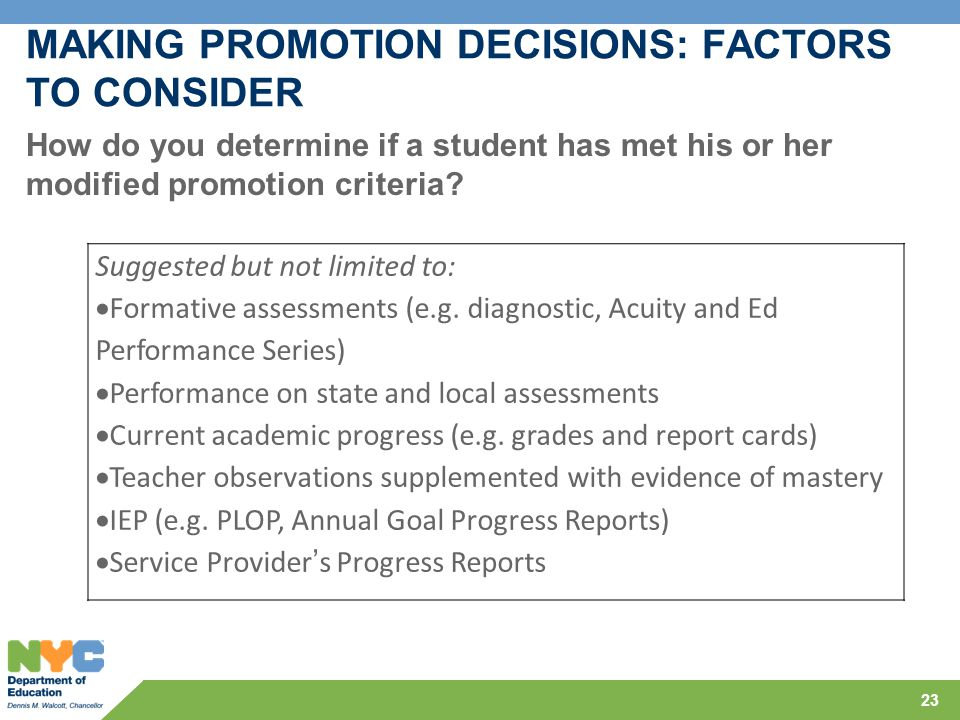MAKING PROMOTION DECISIONS: FACTORS TO CONSIDER 23 How do you determine if a student has met his or her modified promotion criteria? Suggested but not