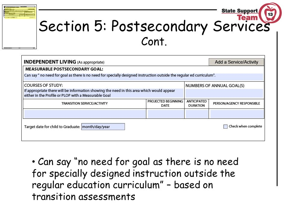 Section 5: Postsecondary Services Cont.