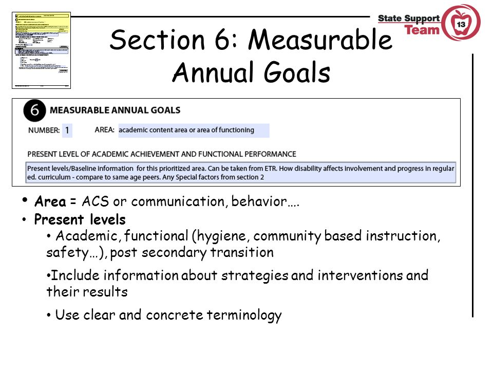 Section 6: Measurable Annual Goals Area = ACS or communication, behavior….