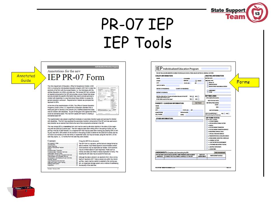 PR-07 IEP IEP Tools Forms Annotated Guide