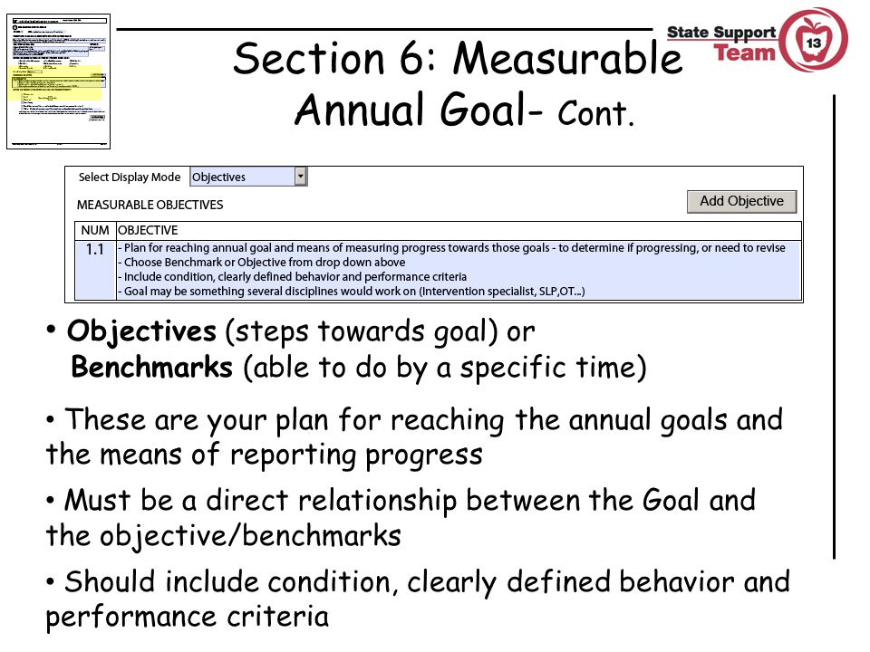 Section 6: Measurable Annual Goal- Cont.