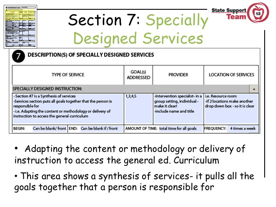 Adapting the content or methodology or delivery of instruction to access the general ed.