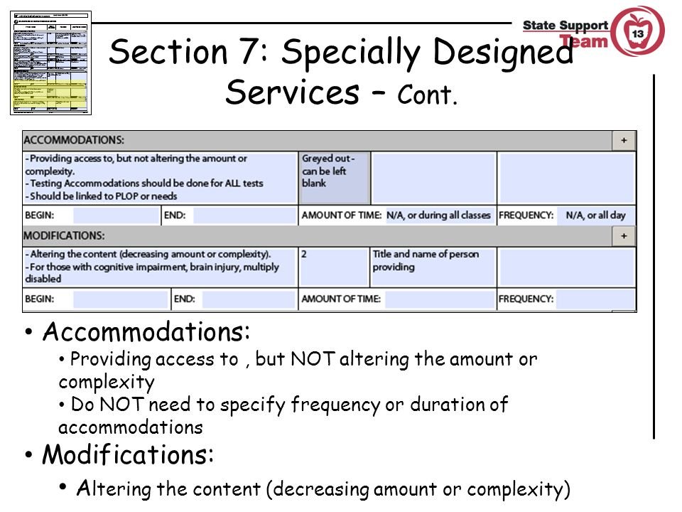 Section 7: Specially Designed Services – Cont.