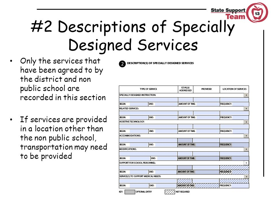 #2 Descriptions of Specially Designed Services Only the services that have been agreed to by the district and non public school are recorded in this section If services are provided in a location other than the non public school, transportation may need to be provided