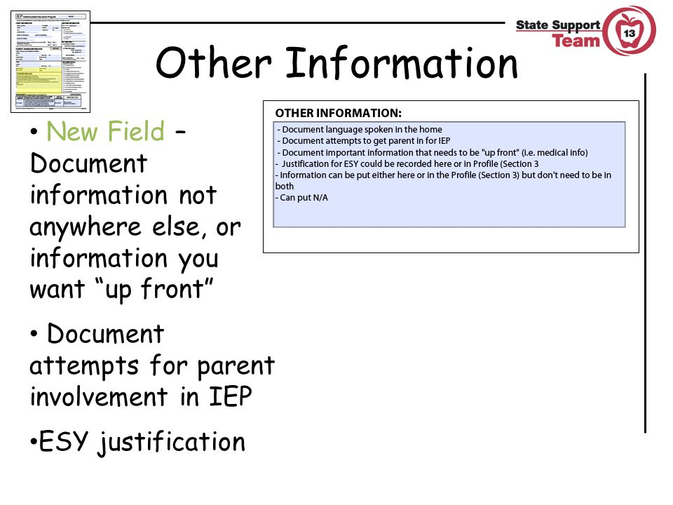 Other Information New Field – Document information not anywhere else, or information you want up front Document attempts for parent involvement in IEP ESY justification