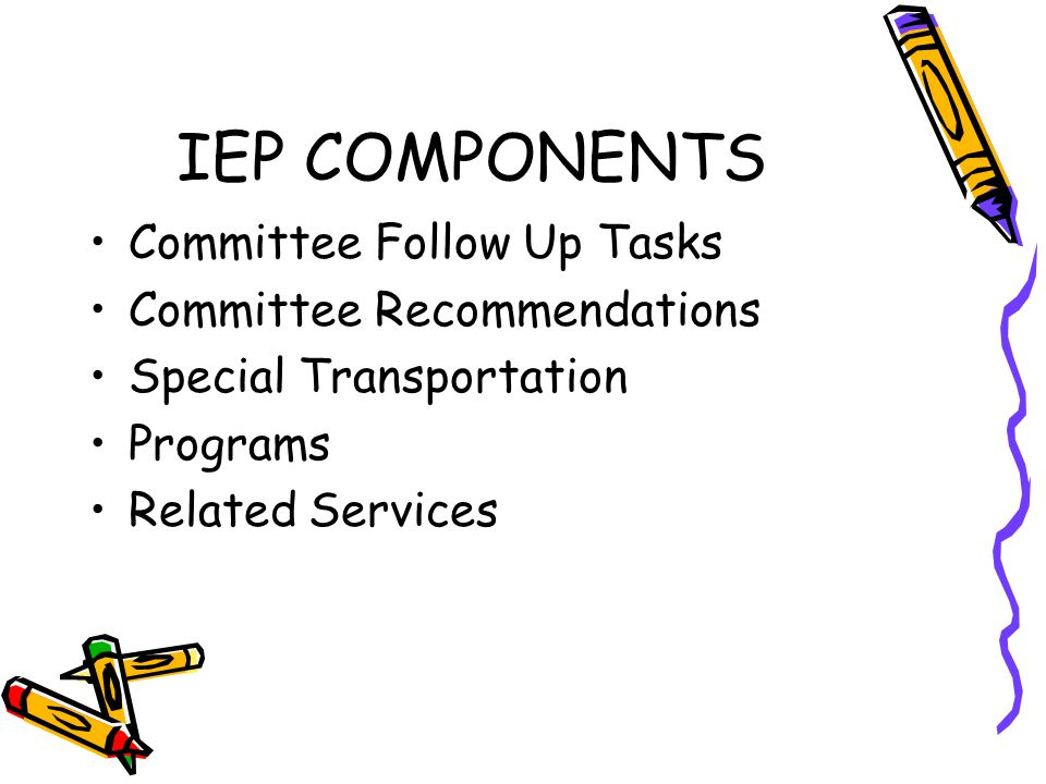 IEP COMPONENTS Committee Follow Up Tasks Committee Recommendations Special Transportation Programs Related Services