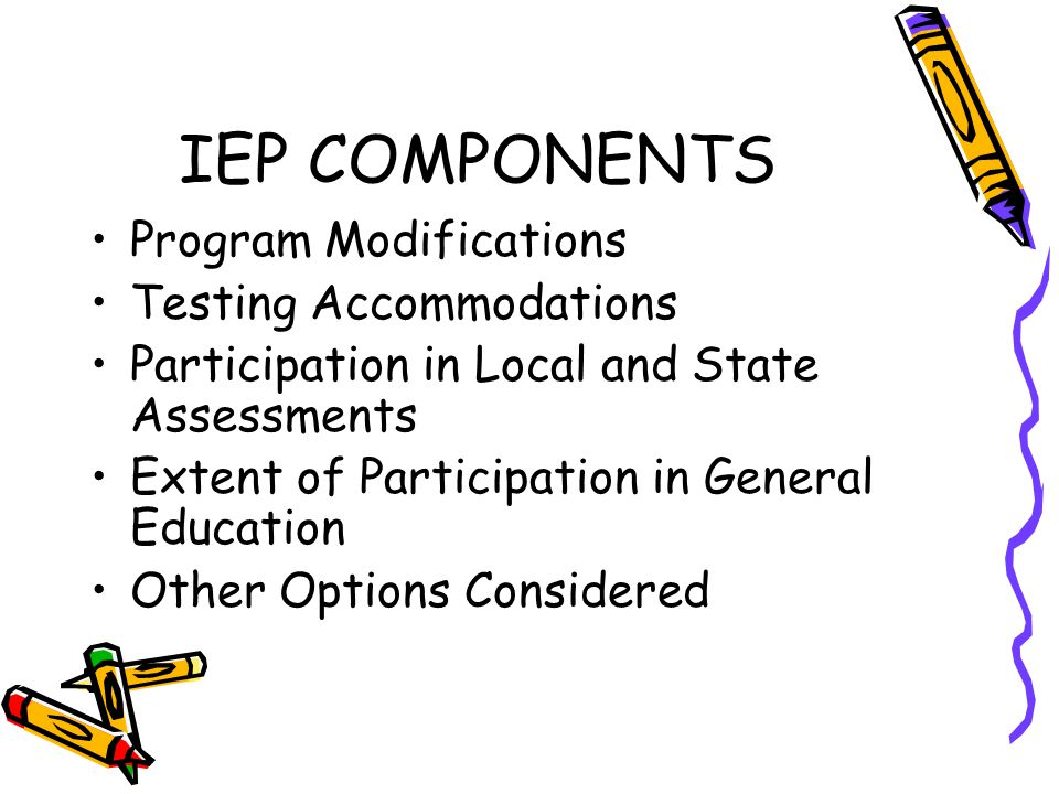 IEP COMPONENTS Program Modifications Testing Accommodations Participation in Local and State Assessments Extent of Participation in General Education Other Options Considered