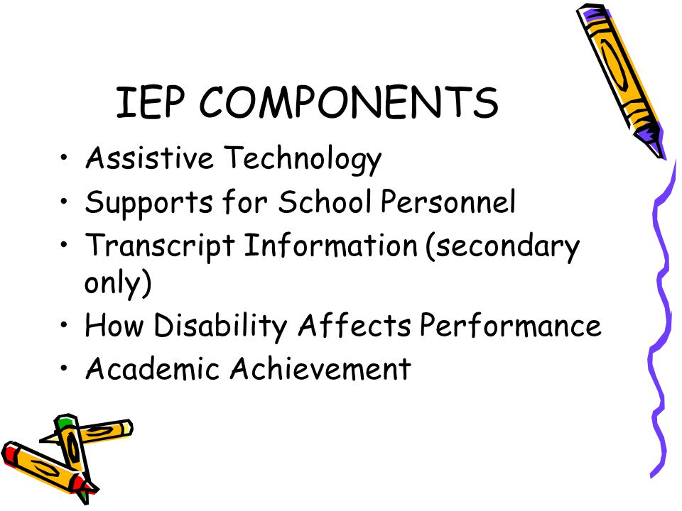 IEP COMPONENTS Assistive Technology Supports for School Personnel Transcript Information (secondary only) How Disability Affects Performance Academic