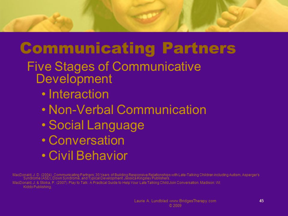 Laurie A. Lundblad -www.BridgesTherapy.com © 2009 45 Communicating Partners Five Stages of Communicative Development Interaction Non-Verbal Communicat