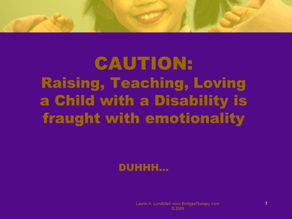 Laurie A. Lundblad -www.BridgesTherapy.com © 2009 7 CAUTION: Raising, Teaching, Loving a Child with a Disability is fraught with emotionality DUHHH…