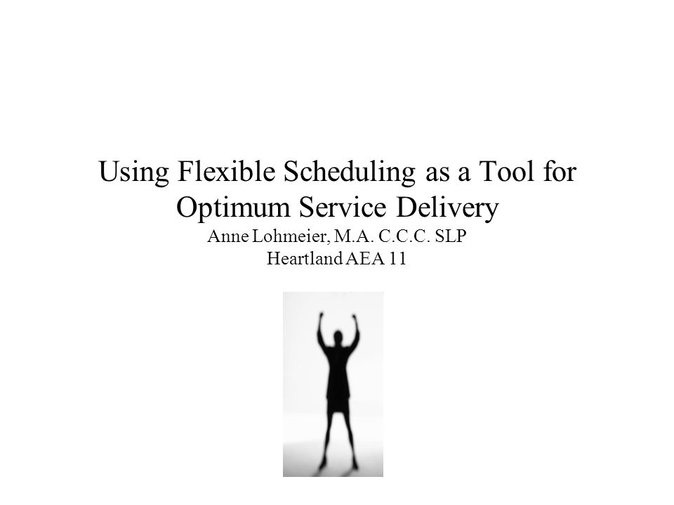 Using Flexible Scheduling as a Tool for Optimum Service Delivery Anne Lohmeier, M.A.