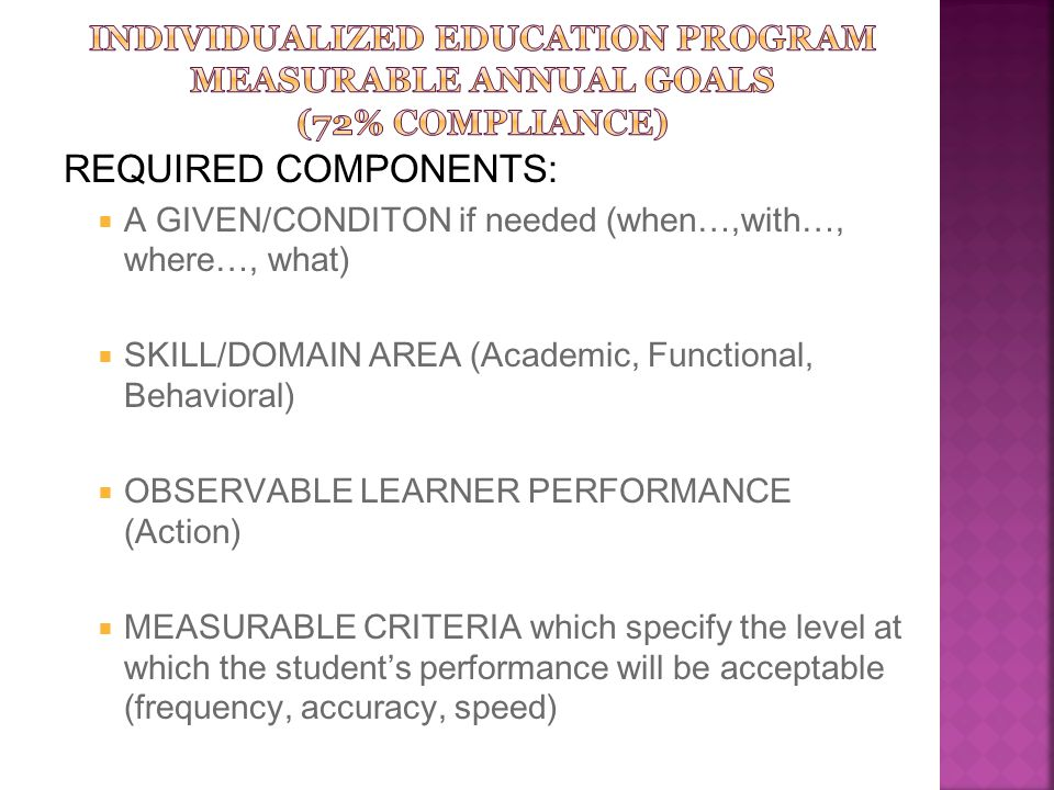 REQUIRED COMPONENTS:  A GIVEN/CONDITON if needed (when…,with…, where…, what)  SKILL/DOMAIN AREA (Academic, Functional, Behavioral)  OBSERVABLE LEAR