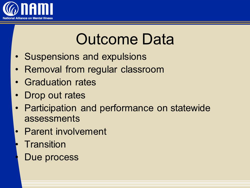 Outcome Data Suspensions and expulsions Removal from regular classroom Graduation rates Drop out rates Participation and performance on statewide assessments Parent involvement Transition Due process