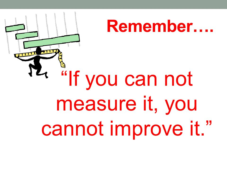 "Remember…. ""If you can not measure it, you cannot improve it."""