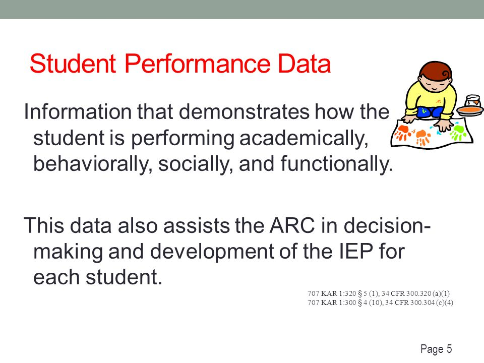 Examples of Student Performance Data Classroom observations Work samples (e.g., portfolios, daily assignment) Functional Behavior Assessment Behavior Intervention Plan Transition Assessments (for students in 8 th grade or age 14 and older) Person-Centered Planning Individual Learning Plan (ILP) or Individual Graduation Plan (IGP) Student & parent surveys Interviews IEP progress monitoring data IEP progress reports Results of research based interventions Results of universal screening Integrated Assessment Report Page 5