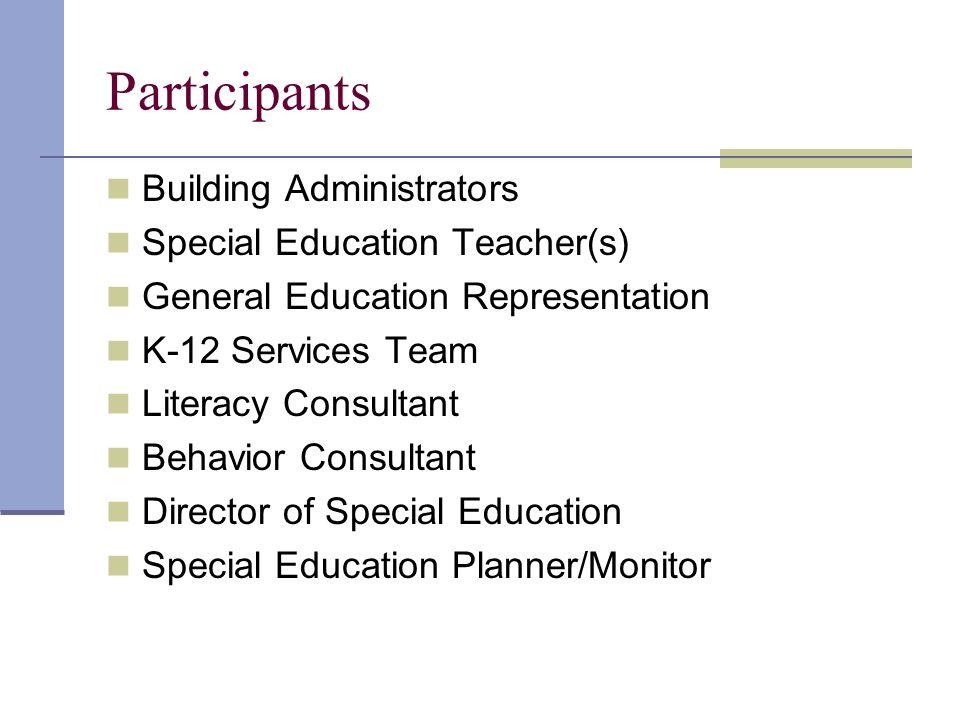 Participants Building Administrators Special Education Teacher(s) General Education Representation K-12 Services Team Literacy Consultant Behavior Consultant Director of Special Education Special Education Planner/Monitor