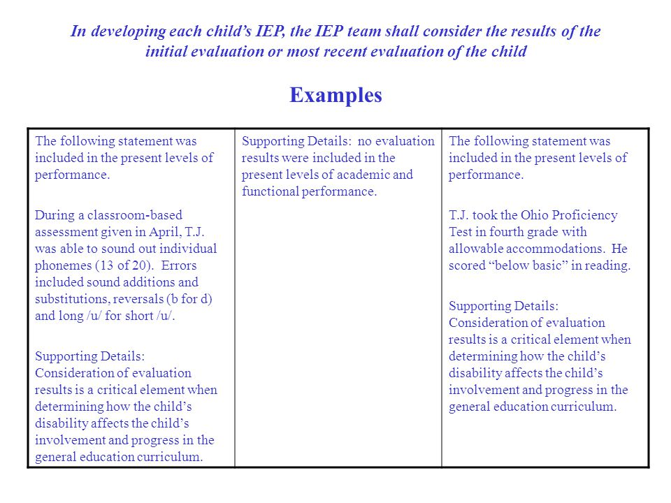In developing each child's IEP, the IEP team shall consider the results of the initial evaluation or most recent evaluation of the child Examples The