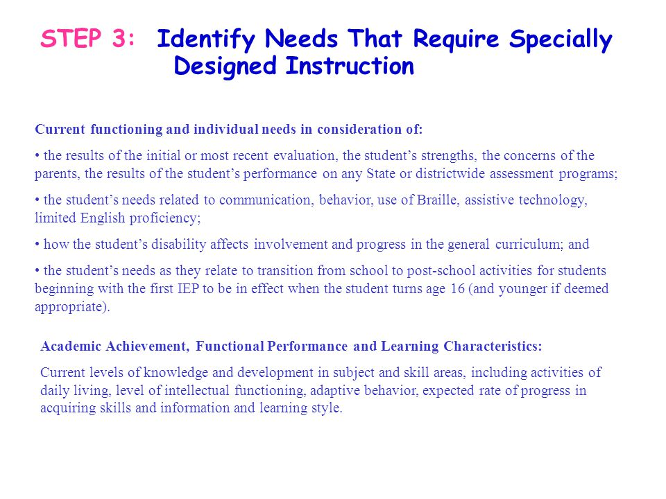 STEP 3: Identify Needs That Require Specially Designed Instruction Current functioning and individual needs in consideration of: the results of the in