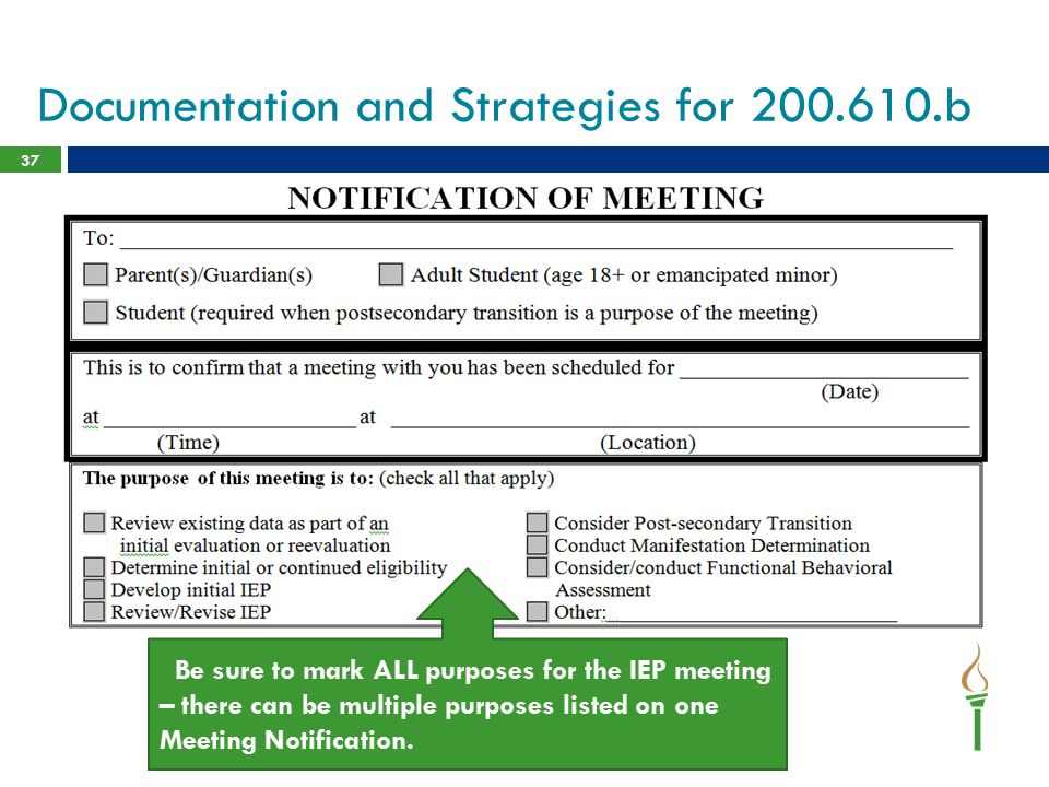 Documentation and Strategies for 200.610.b 37 1.Be accurate with the % of time student is educated in Regular Education setting – CWC / co-teaching mi