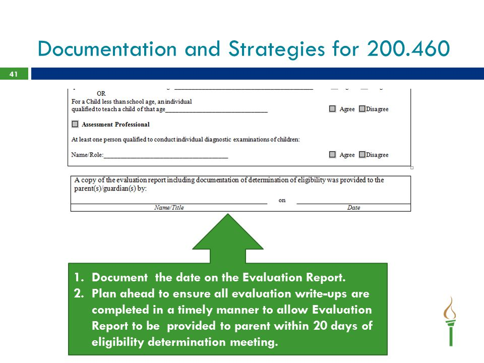 Documentation and Strategies for 200.460 41 1.Document the date on the Evaluation Report. 2.Plan ahead to ensure all evaluation write-ups are complete