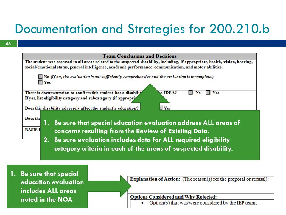 Documentation and Strategies for 200.210.b 43 1.Be sure that special education evaluation address ALL areas of concerns resulting from the Review of E