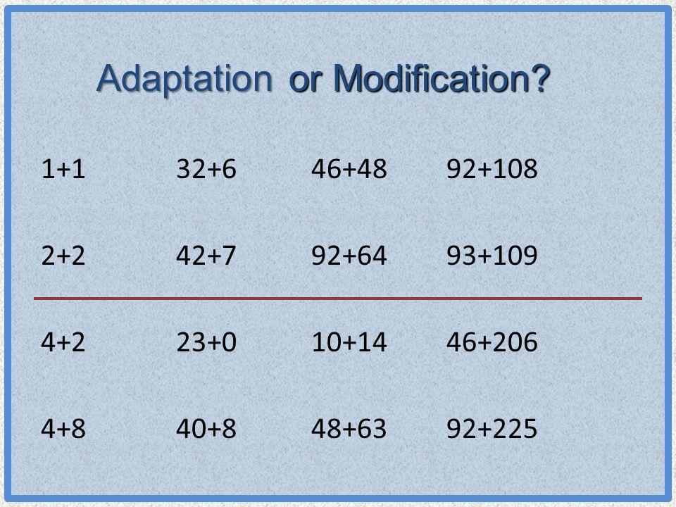 Adaptation 1+132+646+4892+108 2+242+792+6493+109 4+223+010+1446+206 4+840+848+6392+225 or Modification?