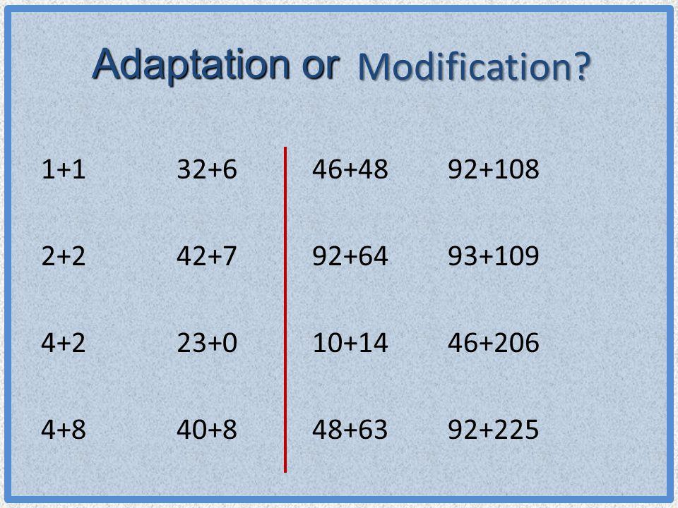 Modification? 1+132+646+4892+108 2+242+792+6493+109 4+223+010+1446+206 4+840+848+6392+225 Adaptation or