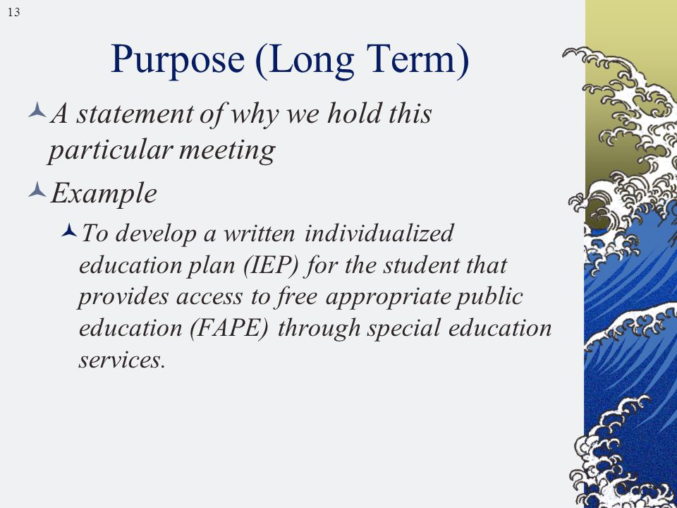 13 Purpose (Long Term) A statement of why we hold this particular meeting Example To develop a written individualized education plan (IEP) for the stu