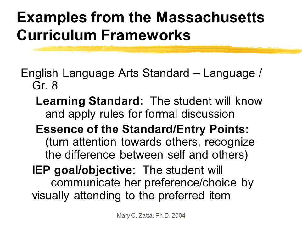 Mary C. Zatta, Ph.D. 2004 Examples from the Massachusetts Curriculum Frameworks English Language Arts Standard – Language / Gr. 8 Learning Standard: T