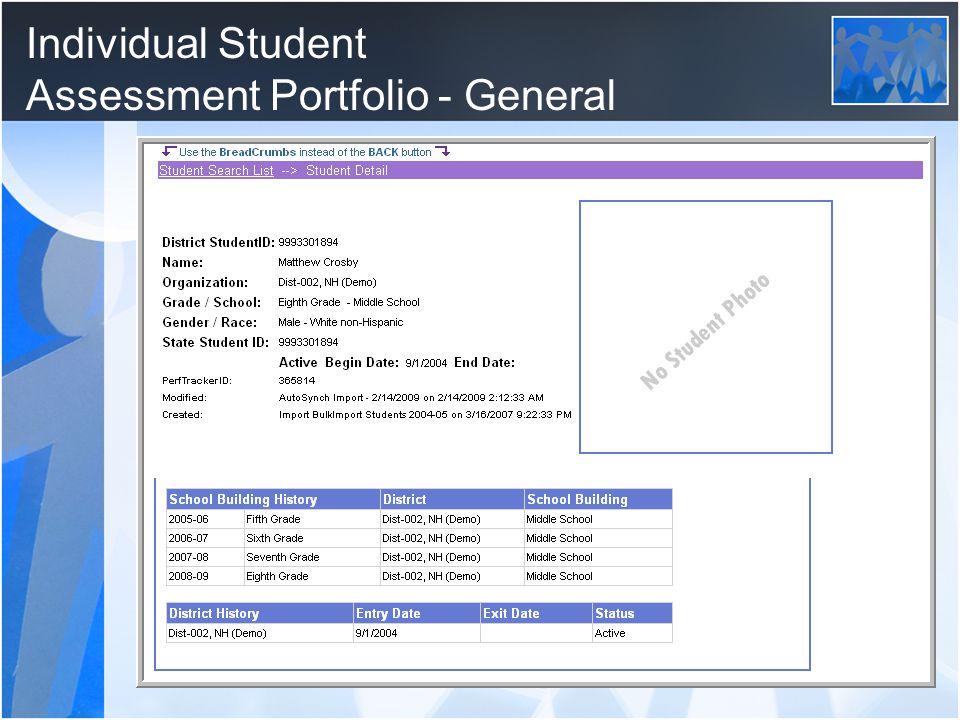 Individual Student Assessment Portfolio - General