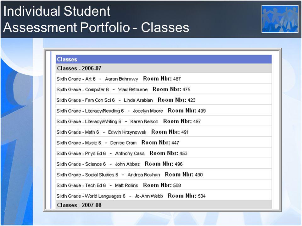 Individual Student Assessment Portfolio - Classes