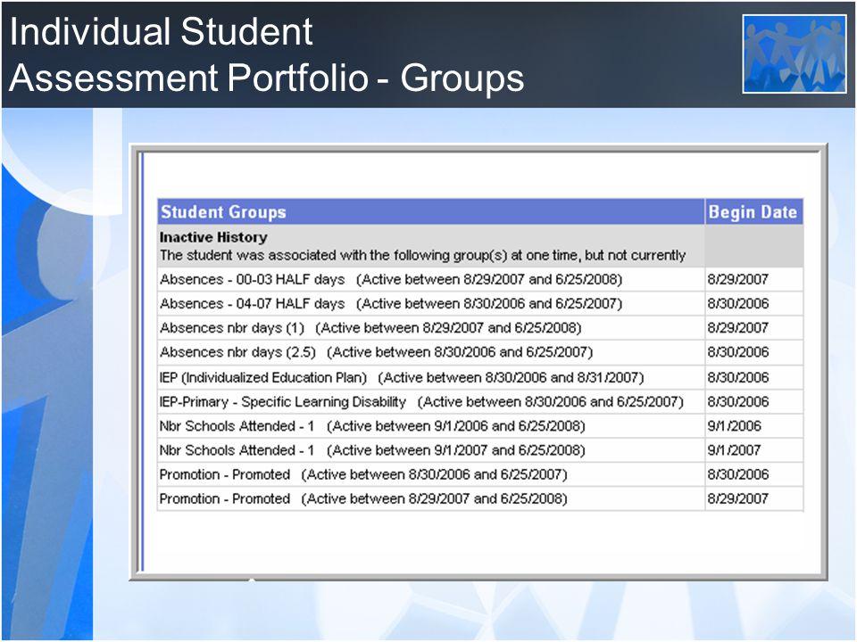 Individual Student Assessment Portfolio - Groups