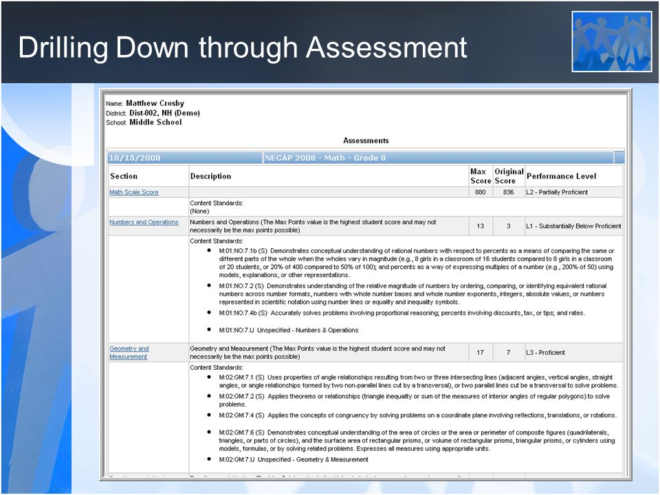 Drilling Down through Assessment