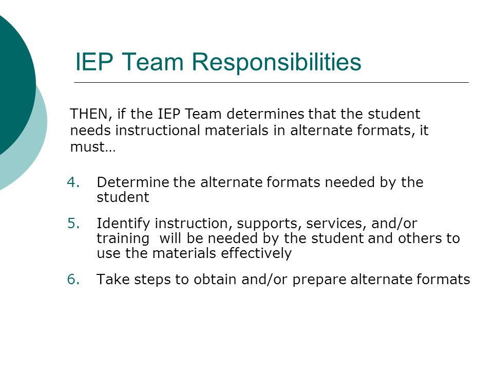 IEP Team Responsibilities 4.Determine the alternate formats needed by the student 5.Identify instruction, supports, services, and/or training will be needed by the student and others to use the materials effectively 6.Take steps to obtain and/or prepare alternate formats THEN, if the IEP Team determines that the student needs instructional materials in alternate formats, it must…