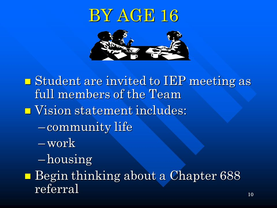 10 BY AGE 16 Student are invited to IEP meeting as full members of the Team Student are invited to IEP meeting as full members of the Team Vision statement includes: Vision statement includes: –community life –work –housing Begin thinking about a Chapter 688 referral Begin thinking about a Chapter 688 referral
