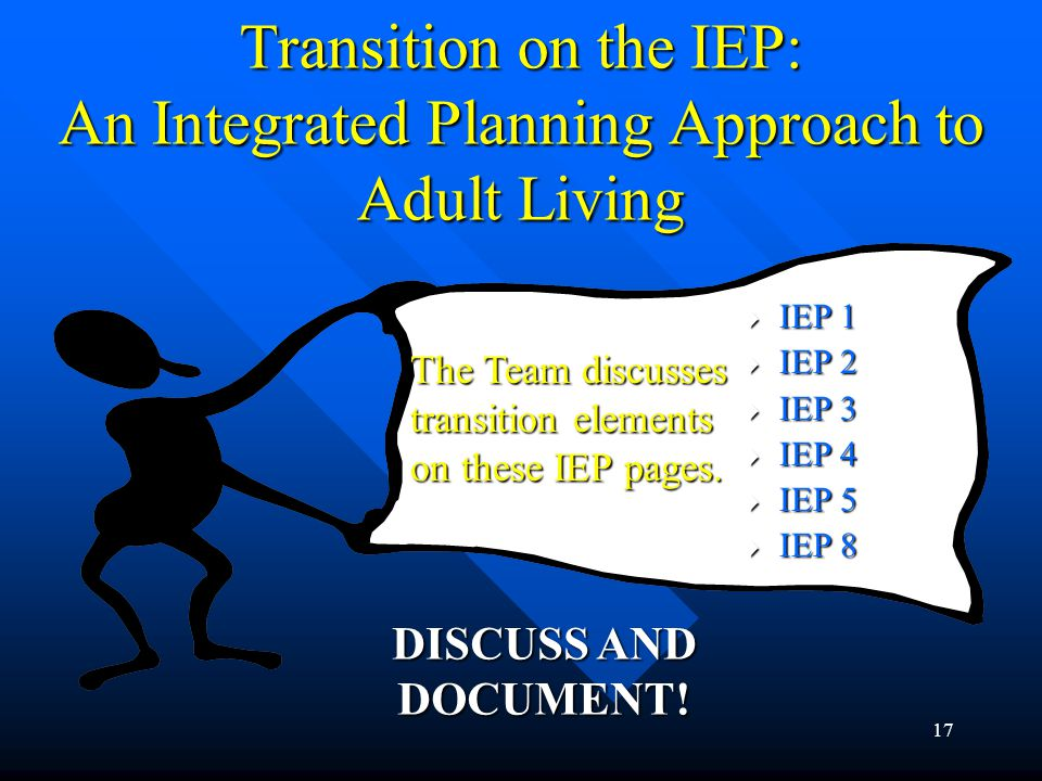 17 Transition on the IEP: An Integrated Planning Approach to Adult Living  IEP 1  IEP 2  IEP 3  IEP 4  IEP 5  IEP 8 The Team discusses transitio