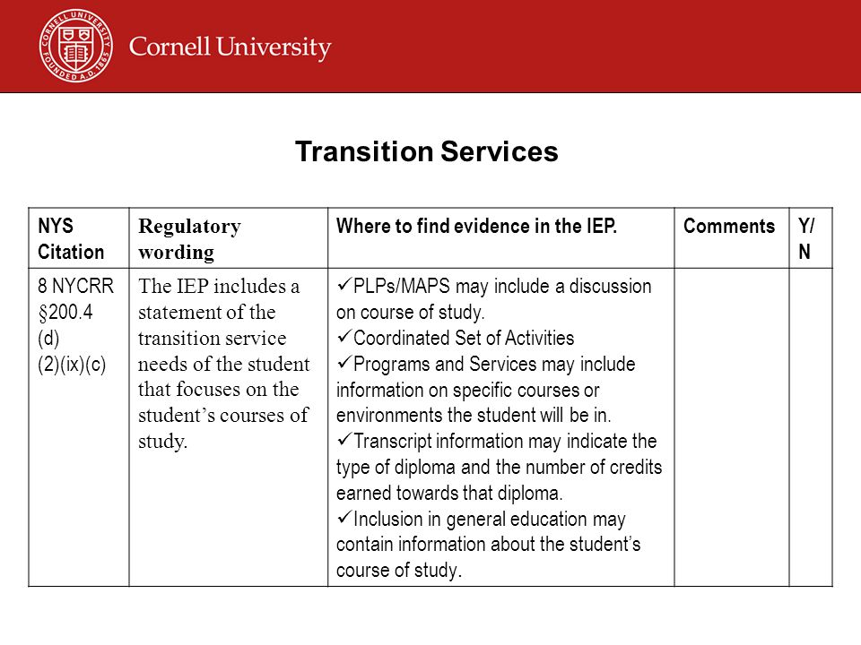 NYS Citation Regulatory wording Where to find evidence in the IEP.CommentsY/ N 8 NYCRR §200.4 (d) (2)(ix)(c) The IEP includes a statement of the transition service needs of the student that focuses on the student's courses of study.