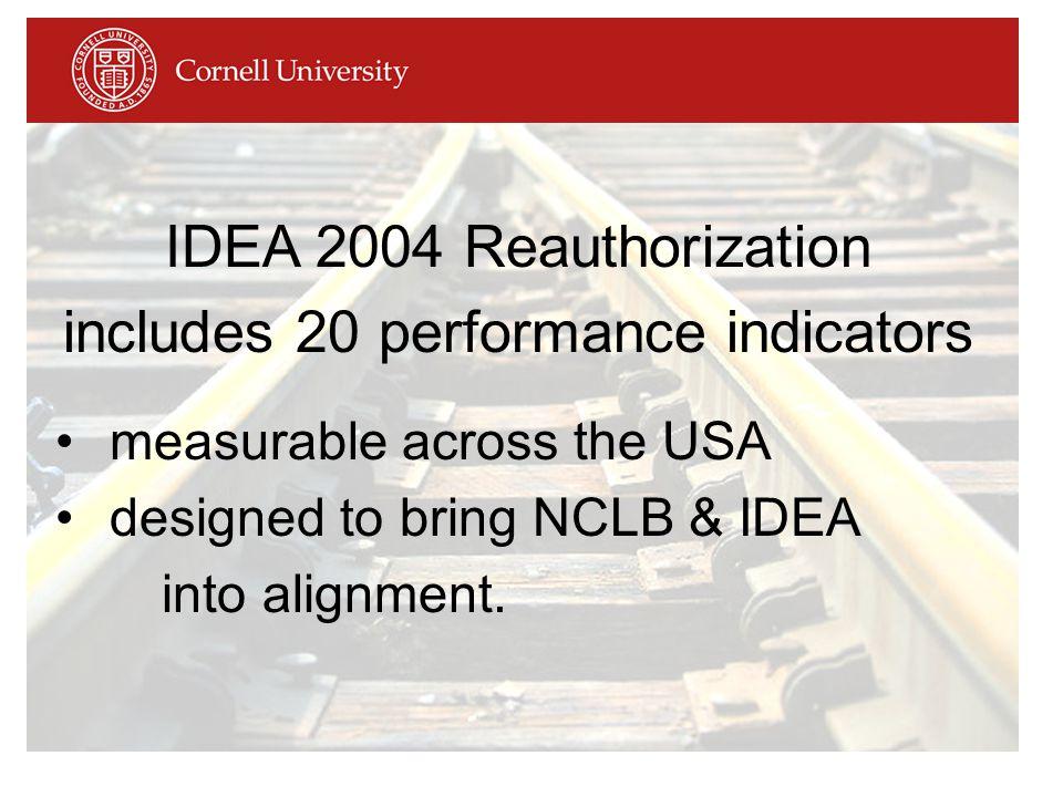 IDEA 2004 Reauthorization includes 20 performance indicators measurable across the USA designed to bring NCLB & IDEA into alignment.