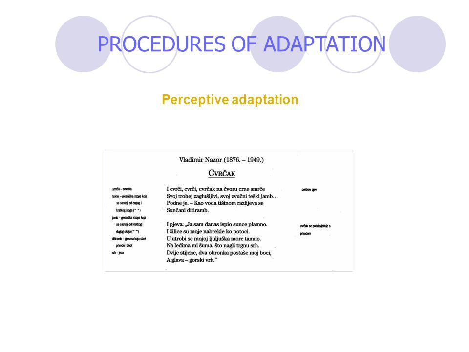 Perceptive adaptation PROCEDURES OF ADAPTATION