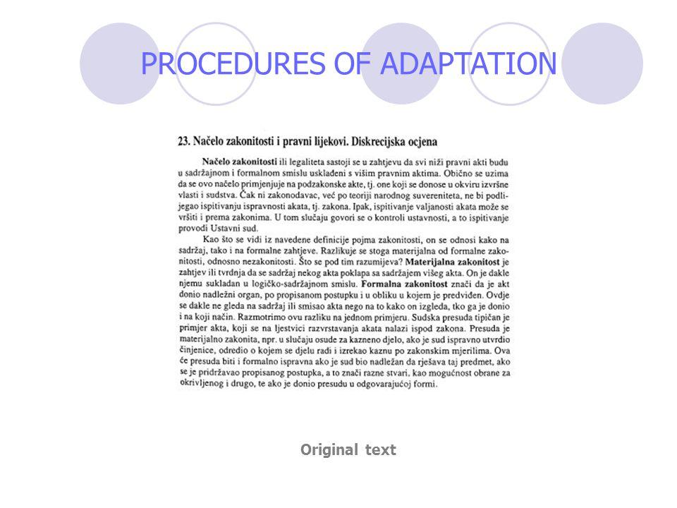 PROCEDURES OF ADAPTATION Original text