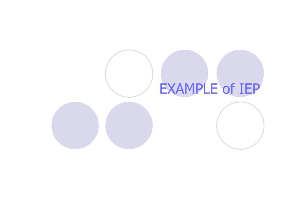 EXAMPLE of IEP
