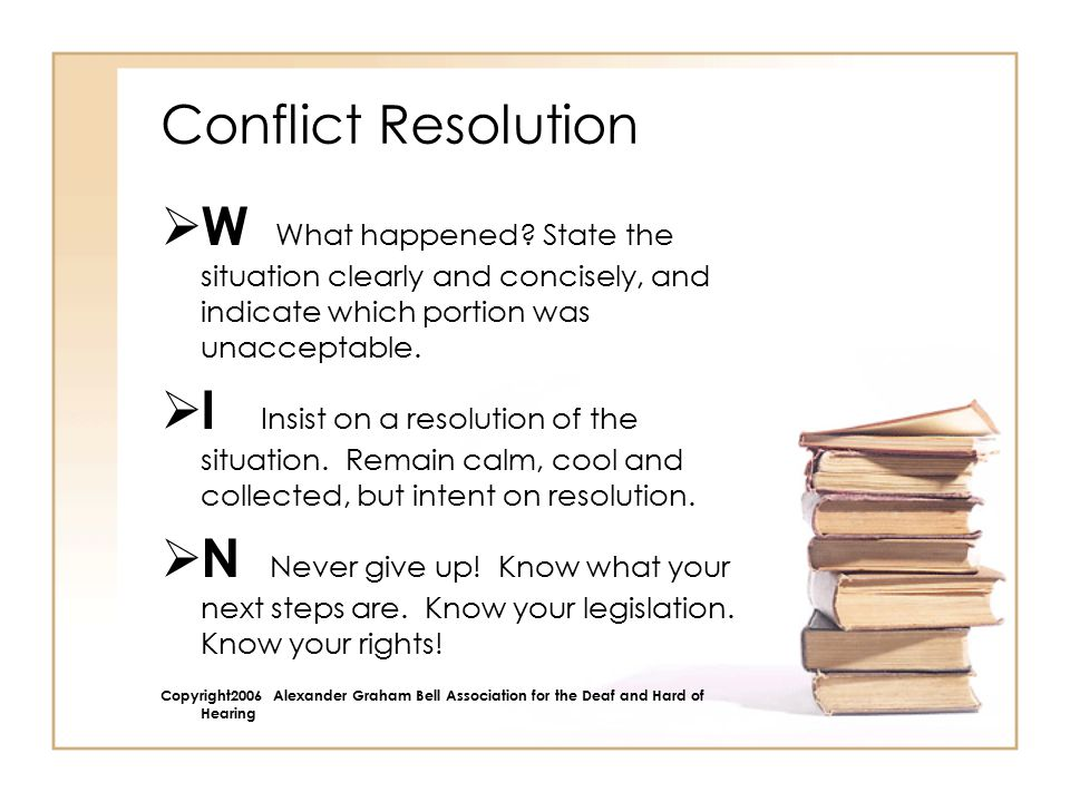 Conflict Resolution  W What happened.